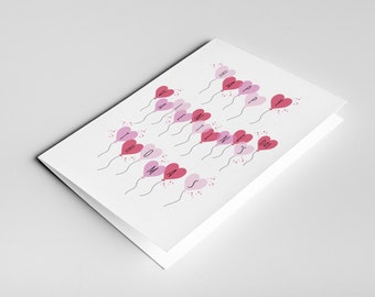 Personalised Valentine's Card - Happy Valentine's Day, Special someone, Romantic Heart Balloons, Greeting Card