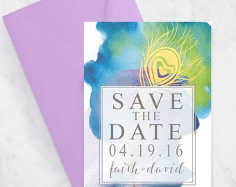 Watercolor Peacock Feather Save the Date - Printable - Digital File