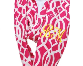 Womens Monogrammed Continuous Loop Pink Vine Infinity Scarf | Personalized Tube Scarf | Hot Pink Winter Scarf | Monogrammed Scarves
