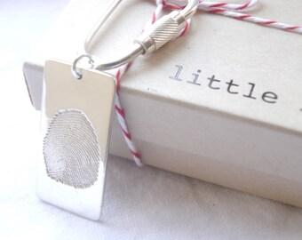 fingerpint jewellery- sterling silver fingerprint keychain- PLEASE SCROLL DOWN for full details