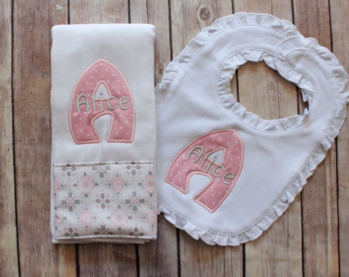 Monogrammed Baby Girl Burp Cloth and Bib Set - Personalized Girl Burp Cloth Bib Baby Gift - Baby Shower or New Baby Monogrammed Gift