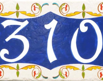 Ceramic house number, house number plaque, Italian house numbers design. cobalt blue house sign, decorative house numbers, outdoor sign