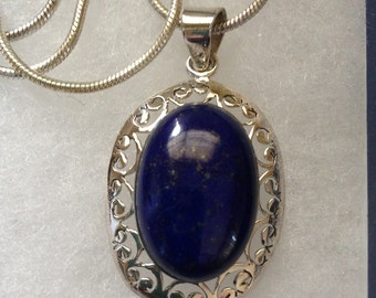 "Lapis Gemstone Pendant Necklace in Sterling Silver Design 18"" Reserved for Ange944"