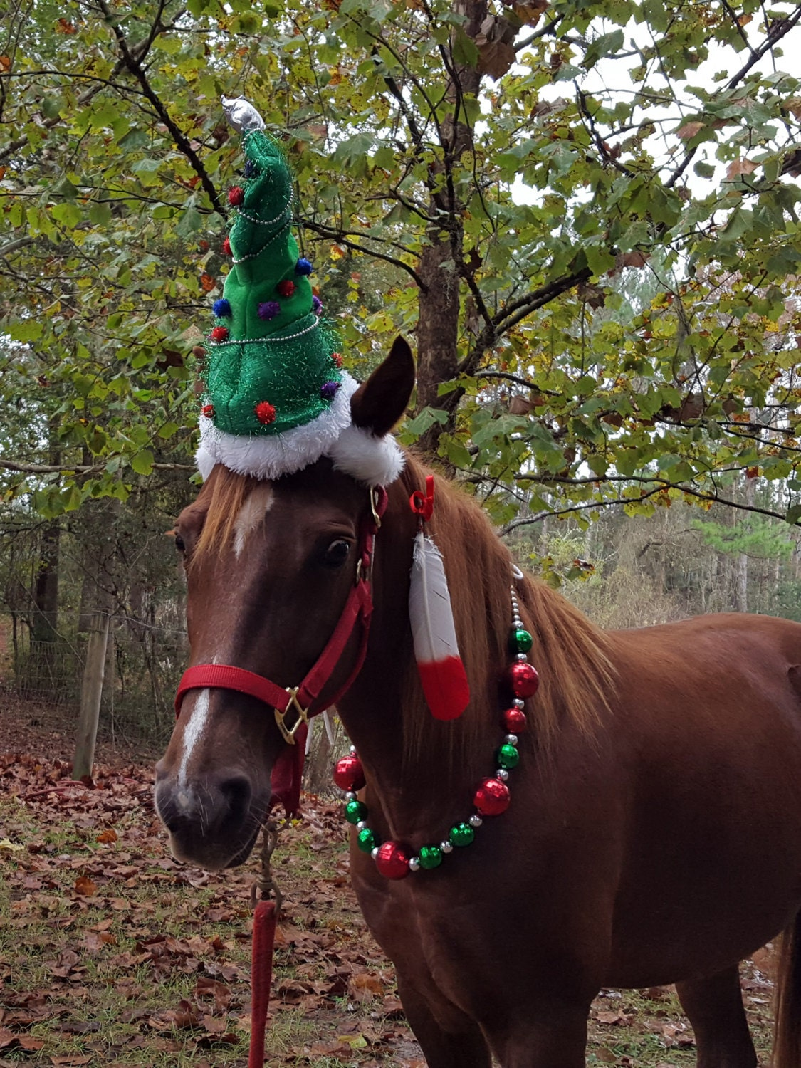 Christmas tree hat for horse or pony equine christmas tree for Christmas tree made out of horseshoes
