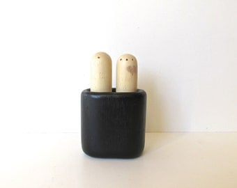 Dansk Modern Salt And Pepper Shaker, Black And White Wooden Shakers