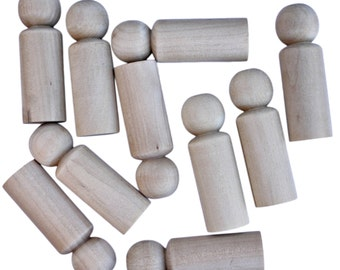 10 x Round headed 9cm Plain Blank Wooden Peg People Dolls Boys Men
