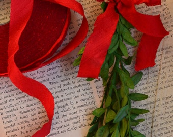bright red dupioni silk ribbon