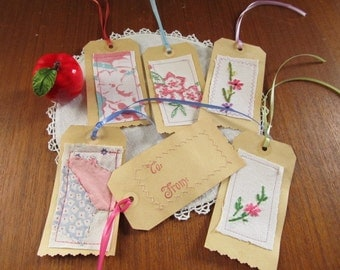 Gift Tags for Gift Wrapping, Pink Linen Tags, Vintage Style Gift Tags, Wedding Tags, Wish Tags, Gift Packaging, Wedding Favor, LT33