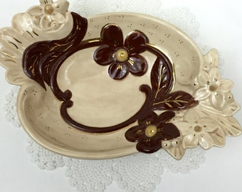 Mid Century Floral Brown and Tan Serving bowl