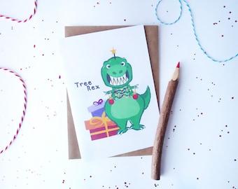 Tree Rex card, Christmas card, funny Christmas card, Xmas card, T.rex card, Dinosaur card