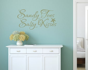Sandy Toes And Salty Kisses Beach Decor Decal Starfish Wall - Wall decals beach quotes
