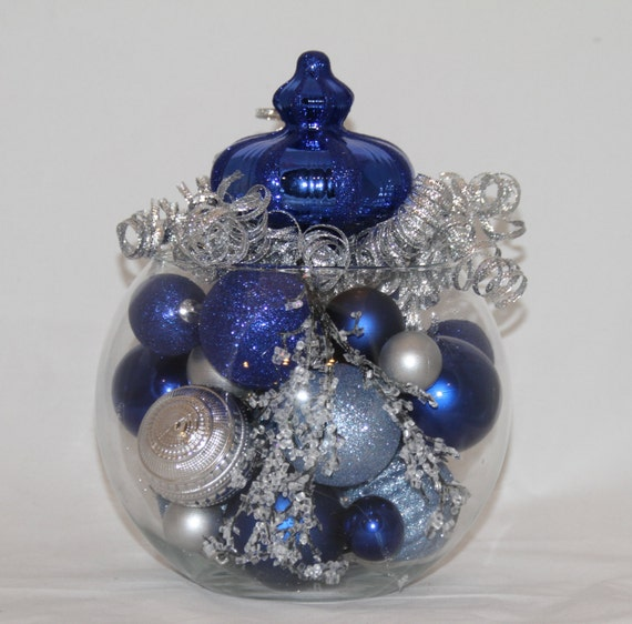 Items similar to christmas centerpiece sapphire silver