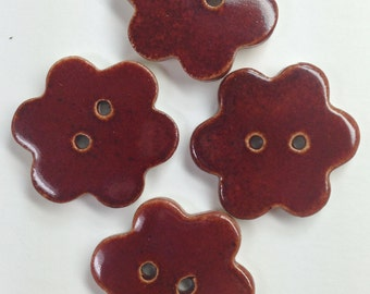 Ceramic Flower Buttons, Red Clay Buttons, Handmade Pottery Buttons, Rustic Buttons, Two Hole Buttons, Clothing Buttons, Pottery Buttons,