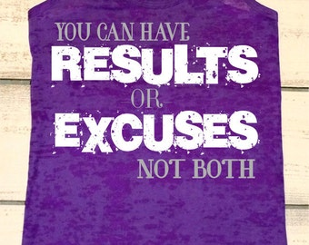 Workout Tank - Results or Excuses - Gym Motivation - Womens Fitness Apparel - Inspirational Quotes - Fitness Tank - Gym Shirts - NO Excuses