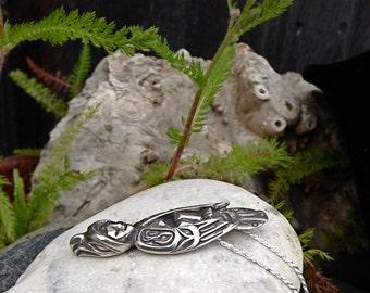 Alaskan Silver Hawk Necklace, Hawk Amulet, Hawk Talisman, Made In Alaska, Spirit Hawk Necklace, Silver Dream Hawk, Silver Hawk Pendant