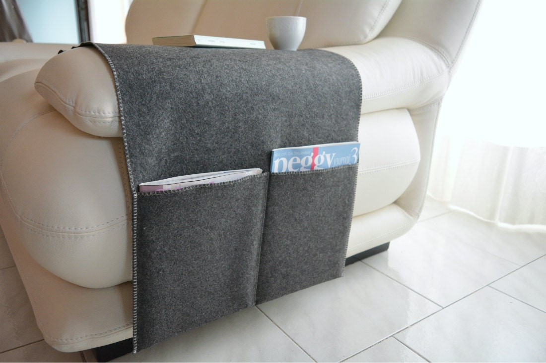 Dark grey felt sofa armrest cover with large pockets for for Couch arm covers grey