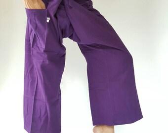 FP0078 Thai Fisherman Pants with Thai hand woven fabric on waist side, Wide Leg pants, Wrap pants, Unisex pants