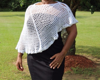 White Mesh Versatile Styling Crochet Shawl - Poncho - Handmade