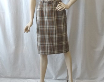 1960s Vintage Jantzen Lined Plaid Pencil Skirt, Size 12, Brown & Tan Plaid, Turquoise, Self Belt, All Cotton, Side Zipper, Vintage Clothing