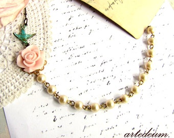 Champagne pearls necklace with blue Swallow and pale pink Flower Verdigris Beige Gold White  Shabby Garden Wedding jewelry