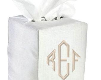 Linen Tissue Box Cover Monogrammed White Natural Bath Monogram