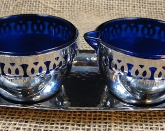 Vintage Cobalt Blue Glass Silver Die Cut Cream & Sugar Bowls Made in England