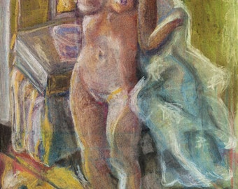 Nude Wall Art - Giclee Art Print, Pierre Bonnard, In the Bathroom, Remake