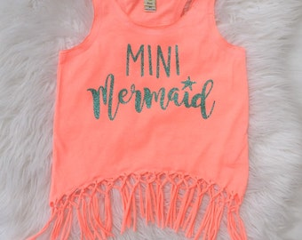 MINI MERMAID Girls Fringe tank top