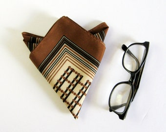 Vintage Print Silk Scarf - Mens Pocket Square Scarf - Black & Brown Stripe Geometric Print Silk Handkerchief - Summer Wedding Spring Fashion