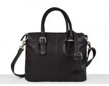 Ladies leather business bag, leather shoulder bag, BLACK handbag .genuine leather bag , Leather Tote, office bag valentine gift