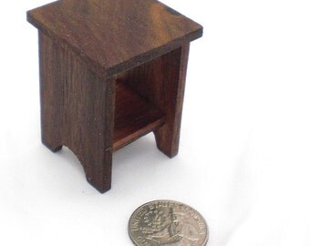 Dollhouse Furniture, Dollhouse Mini, Miniature Walnut Furniture, Endtable, Side Table, Doll Furniture, Dark Wood Furniture