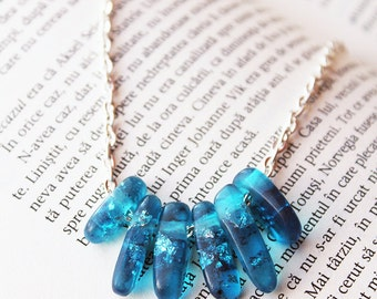 Aqua Blue Transparent Resin necklace - Resin beads - Metallic Silver Flakes - Modern Necklace  Gift for her - Anniversary Gift - Unique