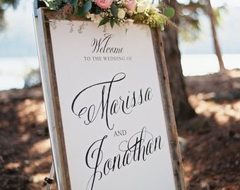 Calligraphic style Wedding Welcome Sign - printable PDF file