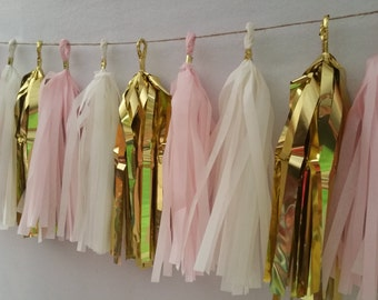 Blush Pink White Gold,  20 Tassel Tissue Paper Garland, Paper Party Decorations, Tissue Tassels, Wedding Decorations. Blush Pink Decorations