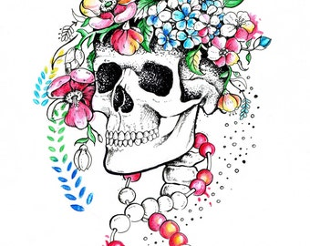 Skull with flowers watercolor print