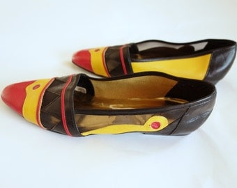 1980s color block flats, leather slip on, new wave, geometric pattern, sheer mesh AJ Velenci flats, size 7