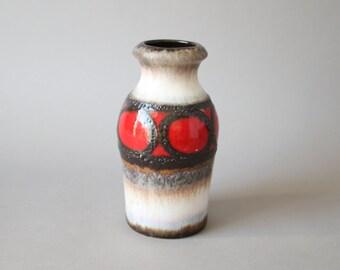 Vintage German pottery, Scheurich vase, red brown fat lava glaze, West German pottery, wgp, 70s pottery, 60s interior decor Eames style