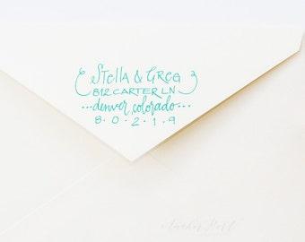 Hand lettered address stamp   return address stamp   wedding/housewarming gift   stationery