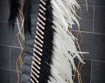 Extra Large White  Feather Headdress (43  inch long )/ war bonnet.
