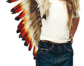 READY FOR HALLOWEEN . N13- From 5-8 years Kid / Child's: Long three colors red swan feather Headdress 21 inch. – 53,34 cm.
