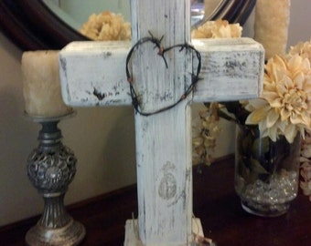 Custom made rustic standing wood cross centerpiece for wedding, shower and every occasion.