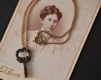 Antique Dark Clock Key Necklace