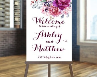 Printable Wedding Sign, Welcome Wedding Sign, Floral Wedding Sign, Purple Sign, Burgundy Wedding Sign, Floral welcome Sign, Custom sign