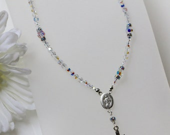 Swarovski AB Crystal Catholic Rosary Necklace in Sterling Silver