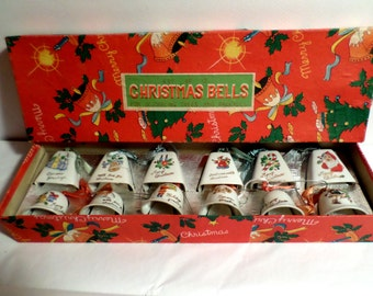 Made in Japan, ceramic, Christmas Bells, complete set, original box, ornaments, 1950s, Christmas Decorations, Christmas ornaments, antique