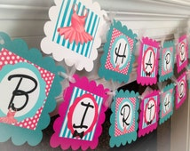 Tutu & Tie Happy Birthday Banner - Teal Stripes, Hot Pink Polka Dots and White Accents - Party Packs Available