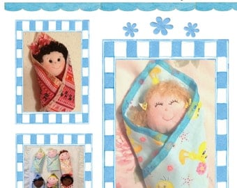 Swaddle Baby  PDF Cloth Doll Pattern with 9 Faces & 9 Hair Variations! Easy Cloth Doll Patterns by Peekaboo Porch