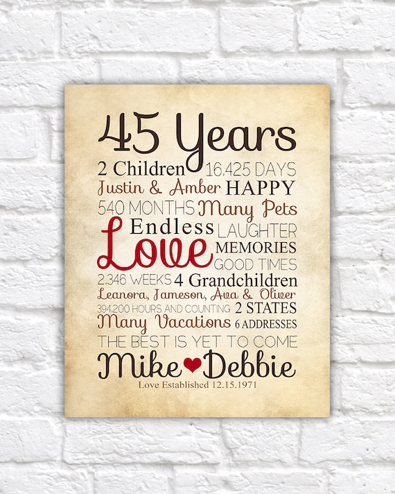 Wedding Anniversary Gifts For Parents 40 Years: Anniversary Gift For Parents 45 Year Anniversary 45th Year