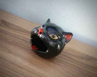 1950s Shafford redware black cat ashtray, open mouth cat ashtray, kitsch, animal barware
