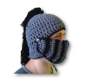 knight beanie, knight helmet, crochet helmet, grey knight helmet, winter helmet